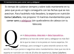 Screen Shot 2017 11 29 at 12.07.43 Claves para adelgazar de Gema cabañero en Telva. Madrid